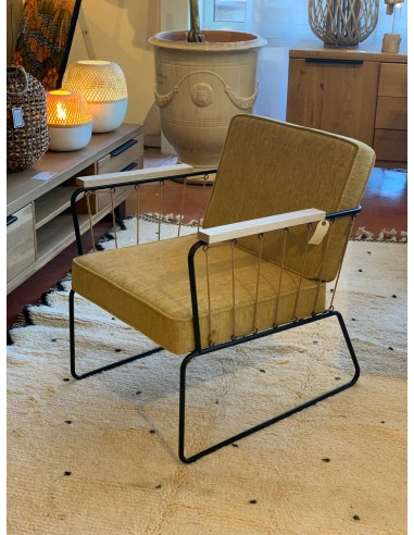 Fauteuil Athis tissu jaune moutarde