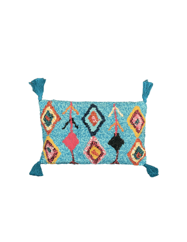 Coussin essaouira 30x50cm turquoise