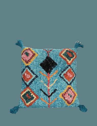 Coussin essaouira 45x45cm turquoise