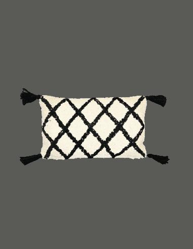 Coussin atlas 30x50cm noir/blanc