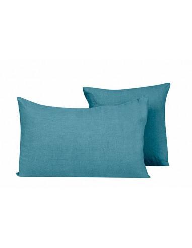 Housse de coussin en lin Propriano Harmony Bleu stone