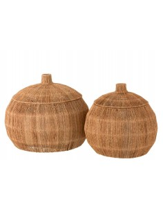 Set 2 paniers dantya arrondis jute naturel