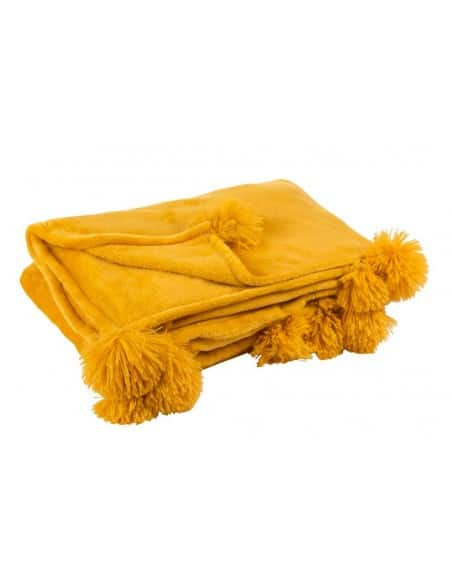 Plaid pompon polyester ocre