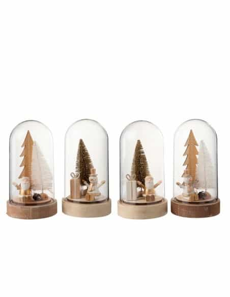 Cloche noël + led bois beige/blanc or grand modèle assortiment de 4