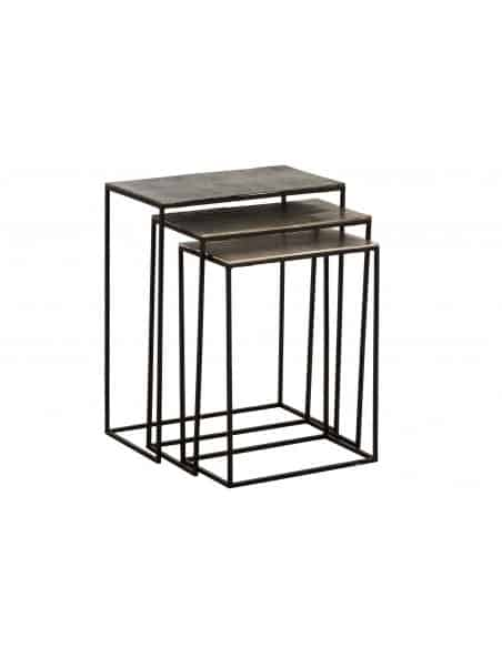 Set de 3 table gigogne rectangulaire aluminium noir/mix
