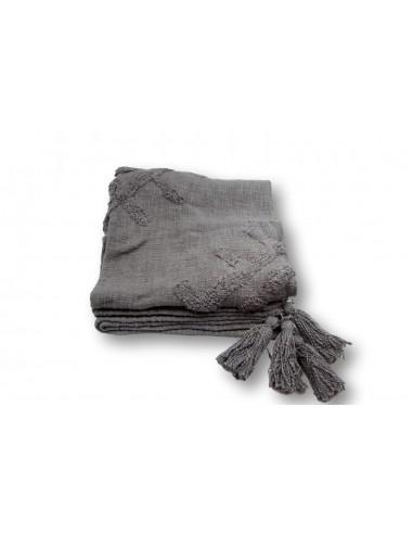 Plaid gris en coton recyclé