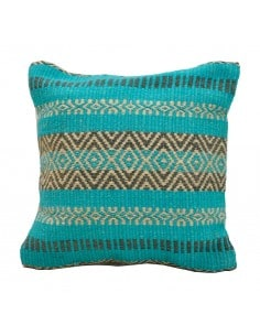 Coussin jute turquoise...